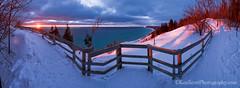 Empire Bluff ... sunset 3-2-13 (Ken Scott) Tags: winter sunset panorama usa snow march michigan lakemichigan greatlakes freshwater voted leelanau 2013 empirebluff sbdnl sleepingbeardunenationallakeshore mostbeautifulplaceinamerica