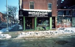 Bridge Coffee Shop (neilsonabeel) Tags: street nyc bridge film coffee shop brooklyn 35mm lomo lca hill front vinegar analogue