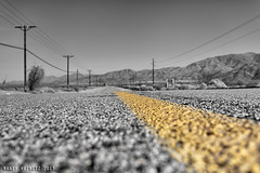 Never Ending Dillon Road (It's So Sunny!) Tags: california road yellow desert coachellavalley indio selectivecolor neverending dillonroad outofreach flickrfriday canonef1740mmf4 indiohills canon5dmarkii riversidecountry randyheinitz