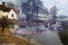 Haywain Photobomb (JayTeaUK) Tags: river suffolk cottage nationaltrust stour flatfordmill flatford johnconstable haywain willylott photobomb