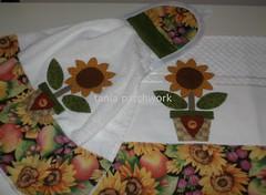 Kit Cozinha Girassol...... (tania patchwork) Tags: patchwork cozinha girassol panodeprato batemão