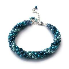 Russian Spiral bracelet (Hollybird Beads) Tags: blue bracelet pearl beadwork beadweaving handmadejewellery