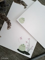 Pond Friends Letter Set #3 (Cute.Kotori) Tags: blue white flower cute green set paper pretty lily pad frog kawaii envelope frogs letter stationery textured