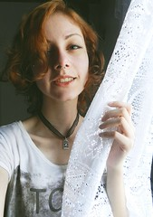 breeze (Aline [Kira] Torres Martins) Tags: white bird window girl hair freedom ginger necklace skin girly free cage piercing pale redhead be delicate breeze septum