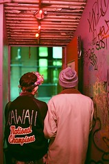 Kiosk (RE) Tags: city nyc pink urban neon soho kawaii neonlights kiosk varsityjacket flowercrown teenfashion