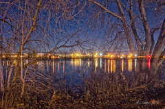 Night Lights On the Missouri River (SimplyAmy74) Tags: longexposure nightphotography blue trees reflection love nature river lights nikon montana nocturnal bluesky overlay software nik editing longshutter missouririver incamera nikoncamera i