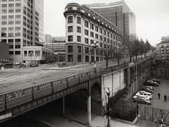 400 Yesler Building, Seattle (Blinking Charlie (away)) Tags: seattle urban blackandwhite bw usa landscape blackwhite 5thavenue overpass washingtonstate retainingwall 2013 beauxartsarchitecture yeslerway canonpowershots100 terracestreet flatironblock 400yeslerbuilding blinkingcharlie 3005thavenuebuilding tobiracondominiums thechinookbuilding