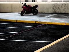 A04306 / I've been here before (janeland) Tags: california parkinglot sidewalk motorcycle vehicle asphalt 94066 sanbruno darkstrokes tanforan