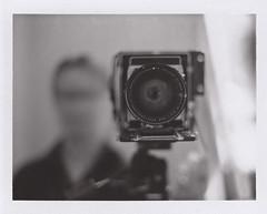 [Pretty Polly] (uηderaglassbell) Tags: bw selfportrait self polaroid dof kodak instant 4x5 expired graflex speedgraphic 100b graflexspeedgraphic underaglassbell aeroektar fp100b 178mm pealapart fujiinstantfilmfp100b kodak178mmaeroektarf25