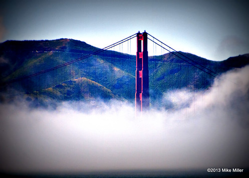 Golden Gate Bridge Rising from the Fog