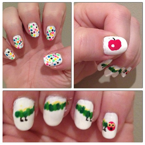 A very hungry caterpillar. #nailart #naildesign #instanail #books #fun #instagood