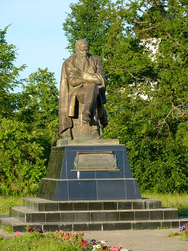 Monument to Fyodor Dostoevsky in Staraya Russa. Here he wrote the world-famous novel, The Brothers Karamazov