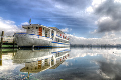 DSC_8492_3_4HDR (bornin78) Tags: travel sky italy lake water colors clouds reflections lago boat nikon mantova 18200 hdr mantua inferior photomatix d7000