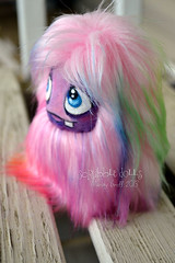 Rainbow Pocket Fluff (Scribble Dolls) Tags: cute art monster fur toy stuffed furry doll handmade ooak critter small fluffy fluff plush softie fabric tiny stuffedanimal handpainted plushie faux handsewn cloth pocket creature scribbledolls
