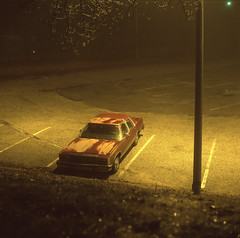 (Josh Sinn) Tags: longexposure color ford 120 6x6 film fog night mediumformat dark md fuji parking tripod foggy lot maryland slide late ltd provia e6 towson crownvictoria 100f yashicamat124g cablerelease bryanscrownvic