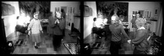 Christmas (Area Bridges) Tags: christmas family blackandwhite dance diptych dancing pentax grandmother sweden 1988 scan negative scanned asa fullframe eliasson grandmothers mesuper orwo djursholm