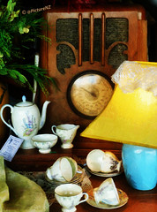 Antiques For Sale (Steve Taylor (Photography)) Tags: old blue light newzealand christchurch brown plant lamp floral yellow radio ancient lace antique tag nick dial canterbury silverstone american nz southisland teapot pricetag knickknacks rotary sugarbowl milkjug radiogram nacks cupsandsaucers