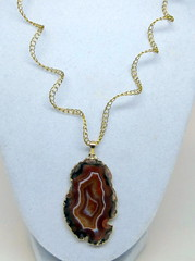 Orange Agate Slice necklace (cindycreativecrochet) Tags: orange canada agate necklace wire handmade unique oneofakind crochet twist saskatchewan pendant jewlry cindyscreativecrochet
