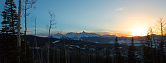 Watching the sun go down over Telluride (Miche & Jon Rousell) Tags: pink sunset orange usa sun snow clouds rockies colorado skiing gondola telluride