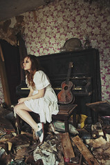 (yyellowbird) Tags: house selfportrait abandoned girl illinois guitar piano cari