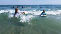 The Kids Boogie-Boarding (Joe Shlabotnik) Tags: galaxys5 everett 2016 violet higginsbeach boogieboard maine july2016 cameraphone ocean beach