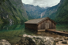 Amazing World (Explore) (Q Sawalha) Tags: germany bavaria bayern obersee knigsee berchtesgaden nature lake see house wooden water blue green landscape waterfall mood amazing