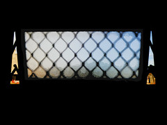 An Obscure Window (Steve Taylor (Photography)) Tags: obscured leaedlights window road traffic cone diamond art digital black blue brown red glass newzealand nz southisland canterbury christchurch cbd city blur silhouette texture wow
