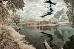 the river (Bucka Stone) Tags: ir infrared white river poland podlaskiprzeombugu polska canon fisheye samyang trees sky clouds countryside water buckastone