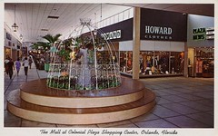 The Mall At Colonial Plaza, Orlando, Floridda (SwellMap) Tags: postcard vintage retro pc chrome 50s 60s sixties fifties roadside midcentury populuxe atomicage nostalgia americana advertising coldwar suburbia consumer babyboomer kitsch spaceage design style googie architecture shop shopping mall plaza