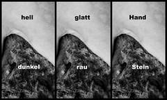 bright/dark - smooth/rough - hand/stone (thewhitewolf72) Tags: collage rau weich hell dunkel hand stein fotografie bildanalytisch text
