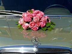 Till death do us part. (remember moments) Tags: dietmarvollmer flower bouquet rose car mercedes marriage