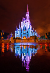 Walt Disney World - Kiss Goodnight Reflection (Tom.Bricker) Tags: rain reflections disney wdw waltdisneyworld cinderellacastle d600 nighttimephotography nikondslr nikond600 tombricker