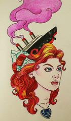 Rose (crimsonology) Tags: portrait art rose tattoo hair movie necklace ship sink drawing babe sketchbook diamond redhead iceberg titanic pinup coloredpencil bluediamond heartoftheocean rosedewittbukator