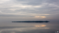 Grevelingen lake on a misty morning (BraCom (Bram)) Tags: sunlight mist lake holland reflection fog clouds canon grey meer widescreen nederland thenetherlands wolken 169 ouddorp grijs eiland zonlicht zuidholland goereeoverflakkee spiegeling southholland canonef24105mmf4lisusm iseland bracom canoneos5dmkiii