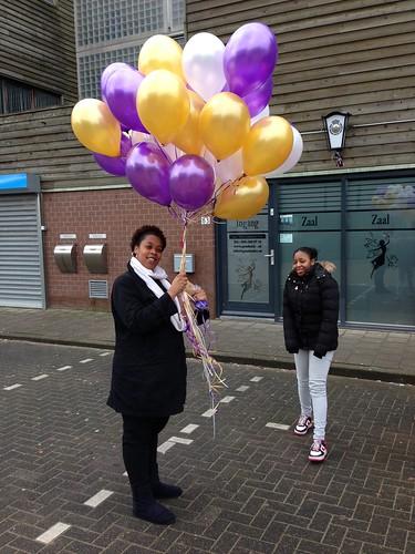Heliumballonnen Goud, Paars, Wit