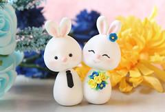Unique Bunny wedding cake topper (PassionArte) Tags: wedding white bunny bunnies groom bride handmade farm craft etsy bridal custom torta barnyard personalized nozze sposi statuine weddingcaketoppers personalizzate