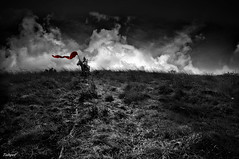 The last catcher (zhongjianren76) Tags: china bw horse cloud grass photoshop pentax flag warrior catcher yunna da14mm k20d