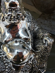 Self portrait in Bling Buddha (Durley Beachbum) Tags: selfportrait reflections shiny metallic