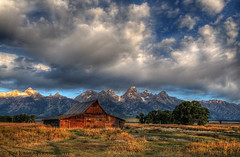 Mormon Row Morning (Tom Lussier Photography) Tags: usa mountain tree clouds barn sunrise landscape nationalpark nikon bravo rockymountain rockymountains wyoming grandtetonnationalpark mormonrow moultonbarns grandtetonnationalparkwyoming tomlussier