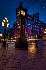 Gastown in Blue (Basic Elements Photography) Tags: blue light canada clock vancouver photography bc hour lighttrails bluehour gastown steamclock hdr highdynamicrange britishcolombia