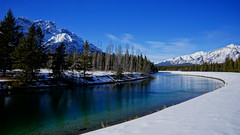 Two-Jack Lake End, Banff National Park, Canada (j.canada) Tags: travel winter lake snow canada nature water zeiss river landscape view trail alberta carl rockymountain banff geographic nationalgeographic banffnationalpark lakeminnewanka 2470mm twojacklake johnsonlake 2013 a99 canadianrockymountain sal2470z zeiss2470f28 variosonnart28222470