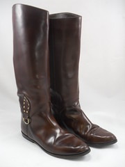 "1980s Knee High Brown Leather Riding Boots • <a style=""font-size:0.8em;"" href=""http://www.flickr.com/photos/92035948@N03/8549722672/"" target=""_blank"">View on Flickr</a>"