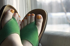 Hoping for Summer with Snow Outside 03132013 (Orange Barn) Tags: winter snow yellow toes sandals polish nails pedicure nailpolish toenails nailvarnish 365daysincolour