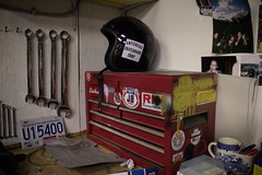 Toby's work bench (williecb750) Tags: shop vancouver work bench helmet skateboard motorcycle antisocial