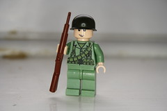 WWII USMC Soldier with M1 Bandoleer (zalbaar) Tags: world 2 usmc marine war lego pacific m1 american ww2 poncho customs garand m1911 brickarms zalbaar