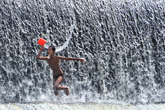 Klungkong, Bali - Fun and Free (Mio Cade) Tags: travel boy bali water swim indonesia fun waterfall kid child dam free run splash klungkong