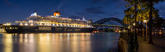 Queen Mary 2 (Tom Beesley) Tags: longexposure panorama water sydney australia circularquay panoramic nsw queenmary2 sydneyharbour sydneyharbourbridge cruiseliner