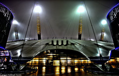 War of the Worlds with a bit of Close Encounters - O2 Arena Millennium Dome London (Explore 19th Mar 2013) (Runner Up Highly Commended Urban Photographer Of The Year 2013) (Simon & His Camera) Tags: city light urban abstract reflection building london lines rain skyline architecture night composition dark lights colours greenwich o2 arena explore dome iconic 52weeks upoty simonandhiscamera