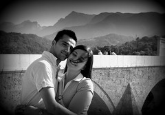 Lovely Day (7Neretva) Tags: bridge boy summer bw woman man mountains cute love girl hair hug couple wind bosnia herzegovina embrace hercegovina bosna