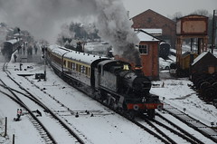 Prairie In The Snow (Simon Crowther Photography) Tags: bridge snow heritage train spring nikon flickr br railway steam severn local preserved prairie railways gala steamrailway wr preservation severnvalley svr gwr arley severnvalleyrailway kidderminster britishrailways greatwesternrailway greatwestern stattion preservedrailway 5164 branchline heritagerailway 51xx railwayphotography chocolateandcream d7000